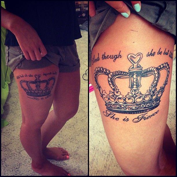 Leg crown tattoo