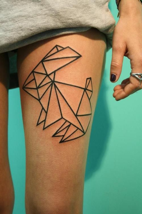Leg origami tattoo