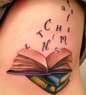 Letters and 3 books tattoo