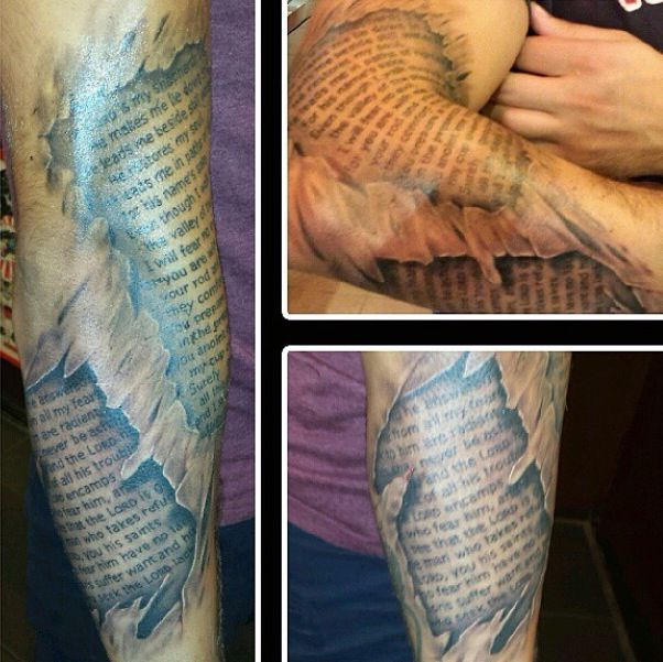 Letters and religious tattoo