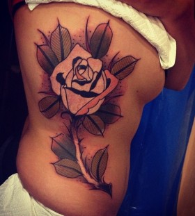 Lovely rose tattoo by Aivaras Lee