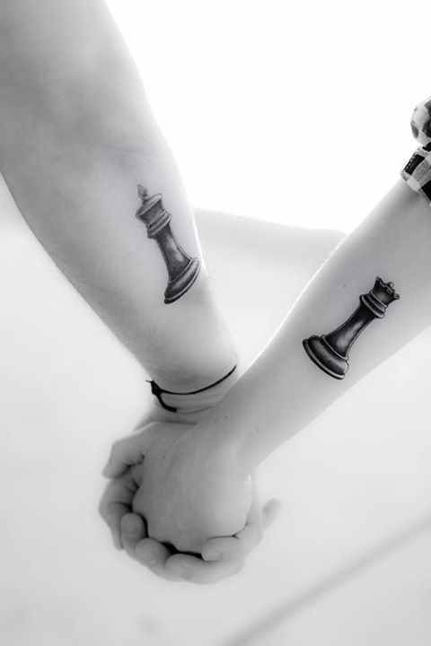 Man and woman chess tattoo