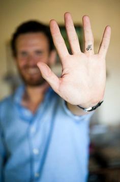 Men letter fingers tattoo