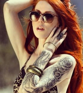 Model woman tattoo