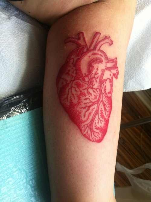 Modern red tattoo