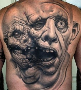 Monster face tattoo