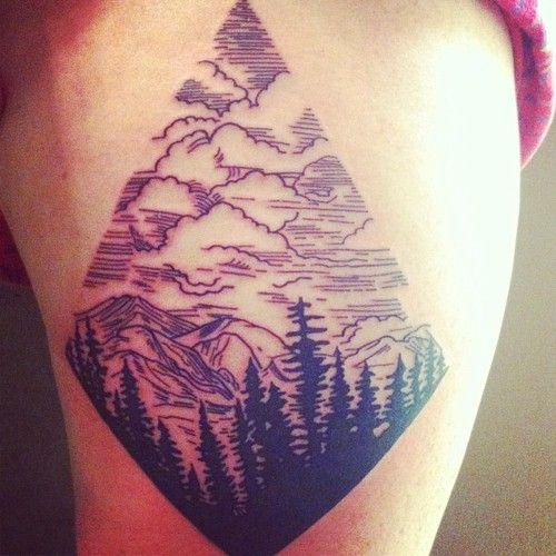 Mountains and tree tattoo