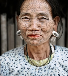 Old Woman face tattoo