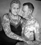 Old couple with tattoos
