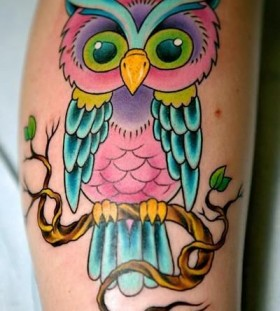 Owl pink tattoo