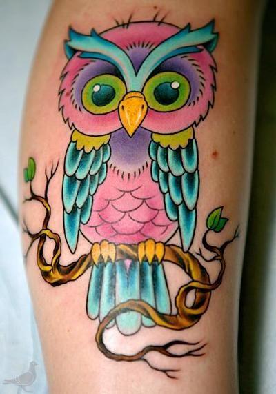 Owl pink tattoo