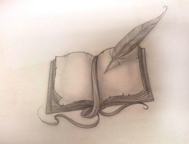 Pages feather and book tattoo