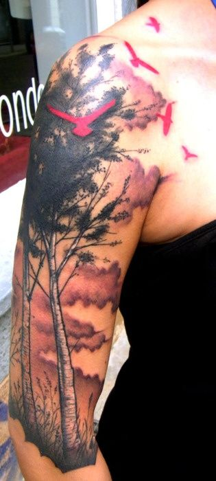 Pink birds and trees tattoo