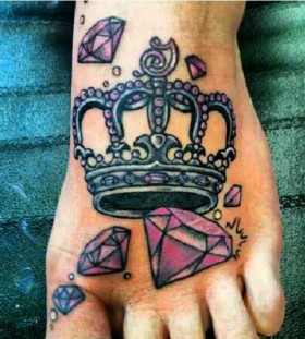 Pink diamond and crown tattoo