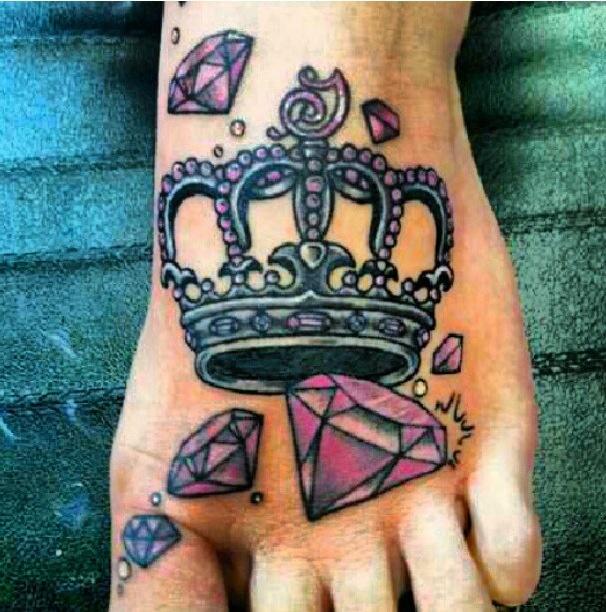 Pink diamond and crown tattoo