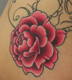 Pink rose tattoo by Michelle Maddison