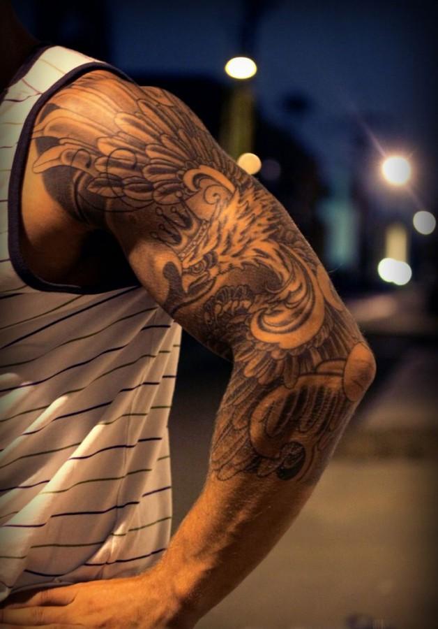 Polish eagle tattoo sleeve