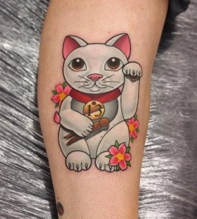 Pretty cat tattoo by Michelle Maddison