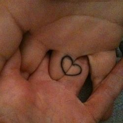 Pretty heart fingers tattoo