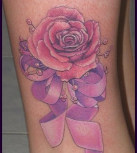 Pretty rose pink tattoo
