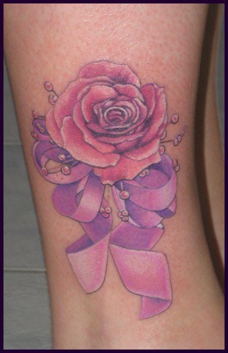 Pretty rose pink tattoo