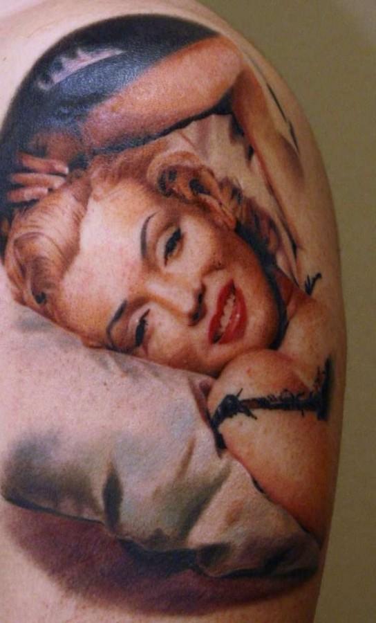 Realistic Marilyn Monroe tattoo