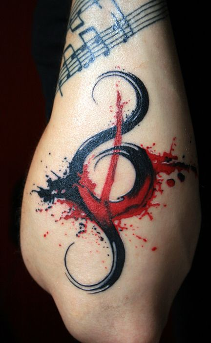 Red and black music tattoo