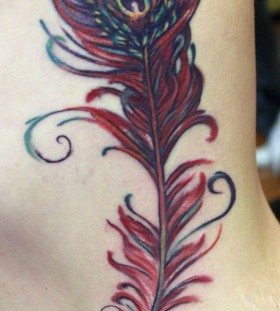 Red feather tattoo by Sean Ambrose