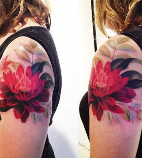 Red flowers tattoo by Amanda Wachob