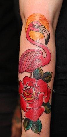 Red rose and flamingo tattoo