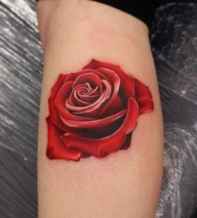 Red rose tattoo by Michelle Maddison