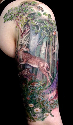Roe in forest tattoo