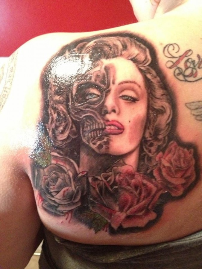 Rose and Marilyn Monroe tattoo tattoo