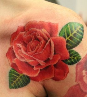 Rose red tattoo