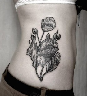 SV.A tattoo flowers on ribs