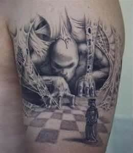 Scary chess tattoo