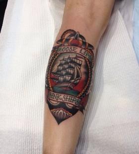 Ship tattoo by Kirk Jones