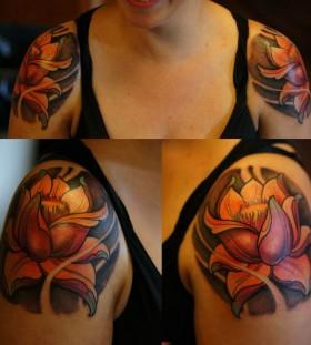 Shoulders tattoo by Aivaras Lee