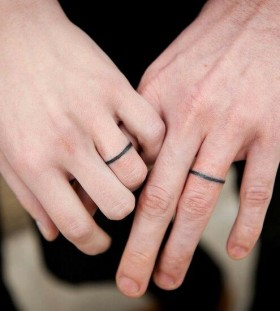 Simple couple fingers tattoo