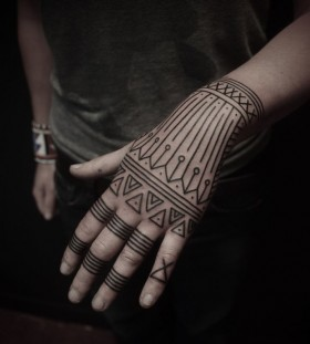 Simple hands ornaments tattoo