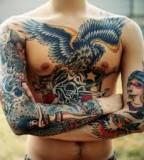 Skull and eagle tattoo