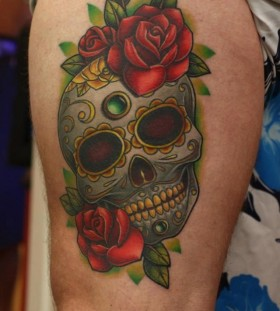 Skull and rose tattoo by Michelle Maddison