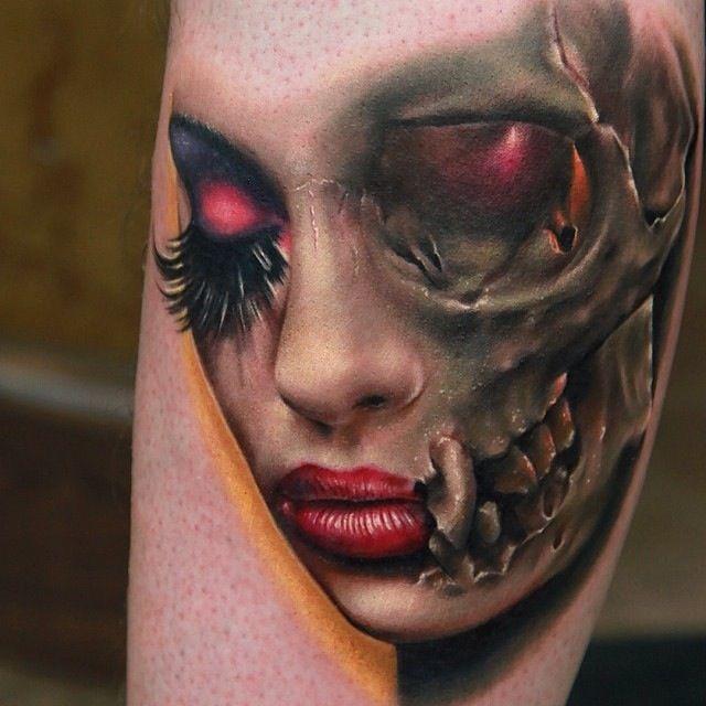 75797a58e3293 Skull girl face tattoo - | TattooMagz › Tattoo Designs / Ink Works ...