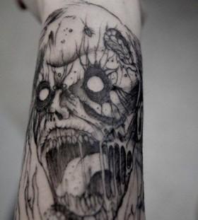 Skull scary tattoo