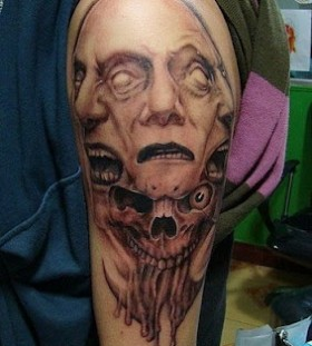 Skulls face tattoo