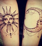 Sun and moon black and white tattoo