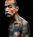 Tattoo on old men with mustaches
