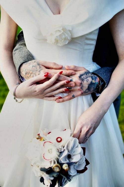 Tattooed groom couples tattoo