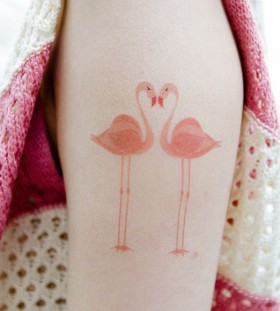 Temporary flamingo tattoo