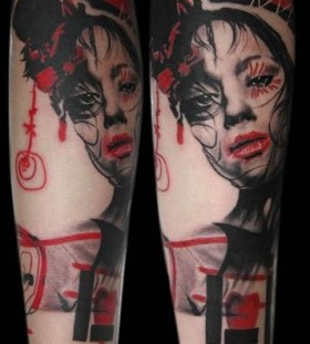 Uniqued red girl tattoo